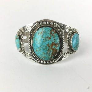 Vintage Navajo Turquoise Sterling Silver Cuff